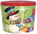 Gourmet Popcorn Can 2 Scarf Snowman